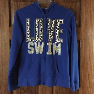 JUSTICE Sz 16 Blue Jacket Love Swim Cheetah Print
